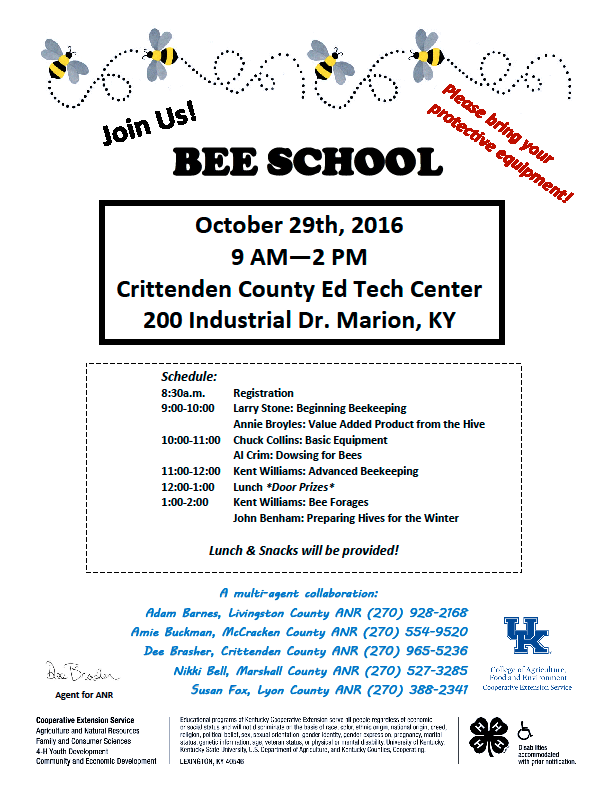 Bee School in Marion KY on Oct 29 – Kentucky State Beekeepers Association